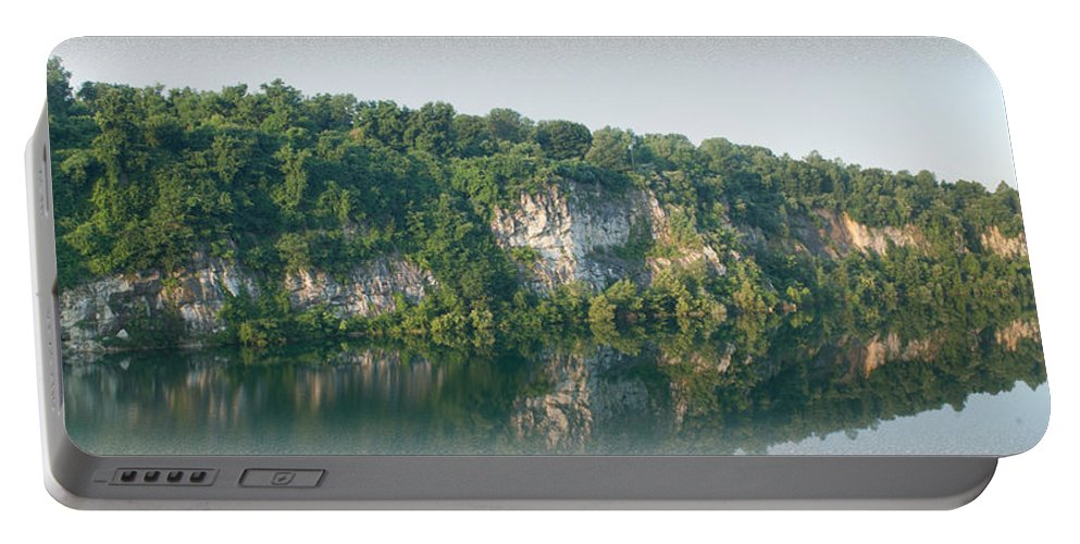 Cedar Hollow Quarry Portable Battery Charger featuring the photograph Cedar Hollow Quarry Panorama by Michael Porchik