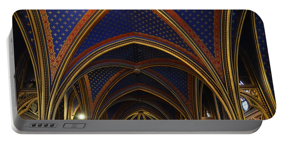 Ceiling Portable Battery Charger featuring the photograph Ceiling Of The Sainte-chapelle Paris by RicardMN Photography