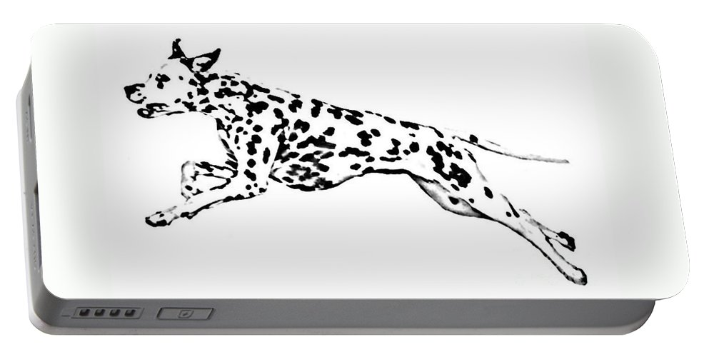 Dogs Portable Battery Charger featuring the drawing Celebrate by Jacki McGovern