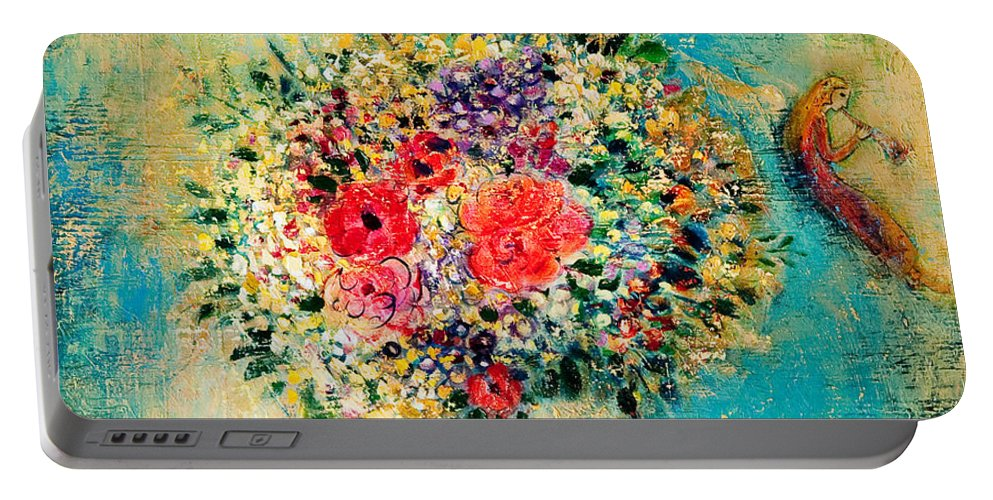 Flower Portable Battery Charger featuring the painting Celebration by Shijun Munns