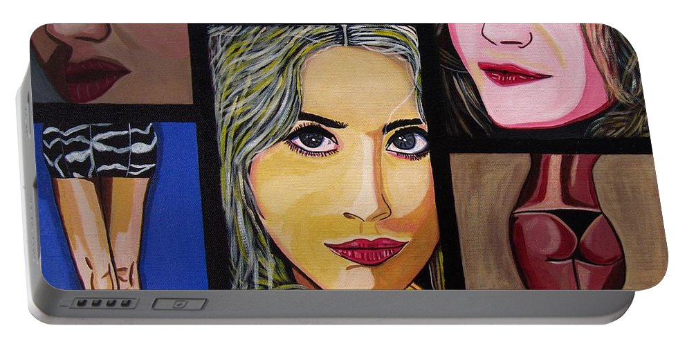 Celebrity Portable Battery Charger featuring the painting Celebrity by Sandra Marie Adams