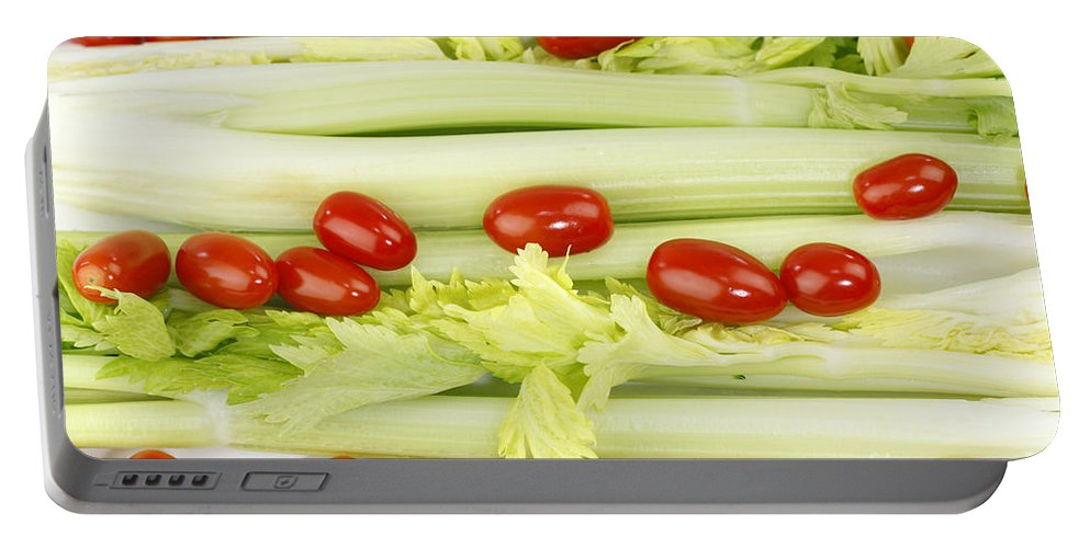 Celery Portable Battery Charger featuring the photograph Celery And Tomatoes by Lee Serenethos