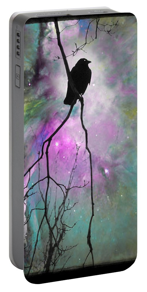 Space Portable Battery Charger featuring the digital art Celestial Dream Of Crow by Gothicrow Images