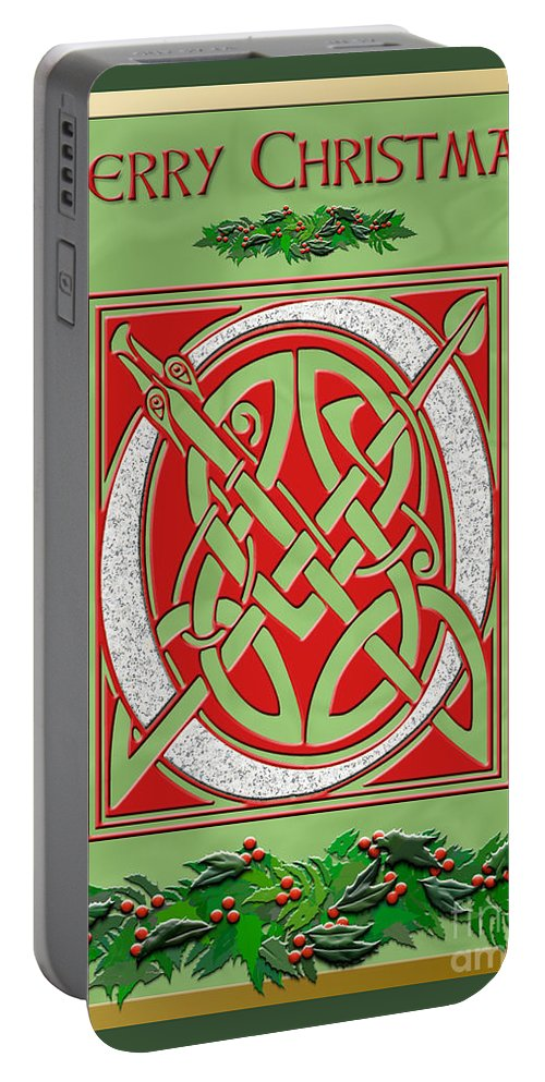 A Beautiful Illuminated Celtic Script Letter For Everyone On Your Christmas Card List. A Granite Letter Is In A Festive Red Background With Holly Decorations On A Pale Green Satin Background. A Gold Foil Border Adds Elegance. Portable Battery Charger featuring the digital art Celtic Christimas O Initial by Melissa A Benson