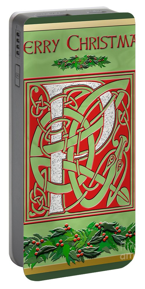 Monogram Portable Battery Charger featuring the digital art Celtic Christmas P Initial by Melissa A Benson