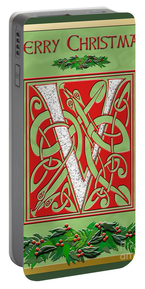 Monogram Portable Battery Charger featuring the digital art Celtic Christmas V Initial by Melissa A Benson