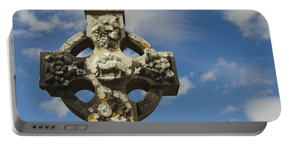 Ireland Portable Battery Charger featuring the photograph Celtic Cross, Cong Abbey, Ireland by John Shaw