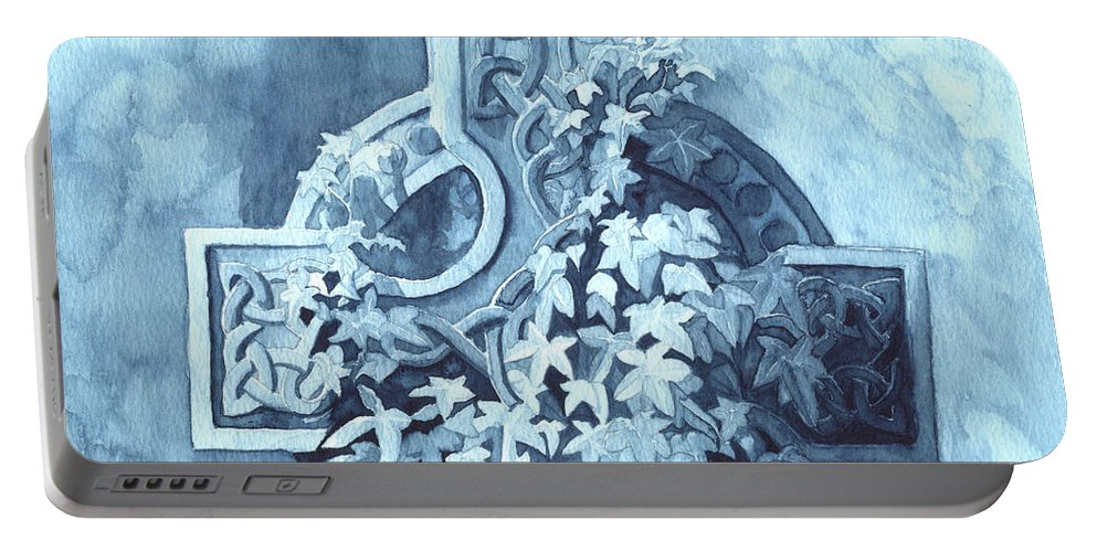 Celtic Cross Portable Battery Charger featuring the painting Celtic Cross Study by Lynn Quinn