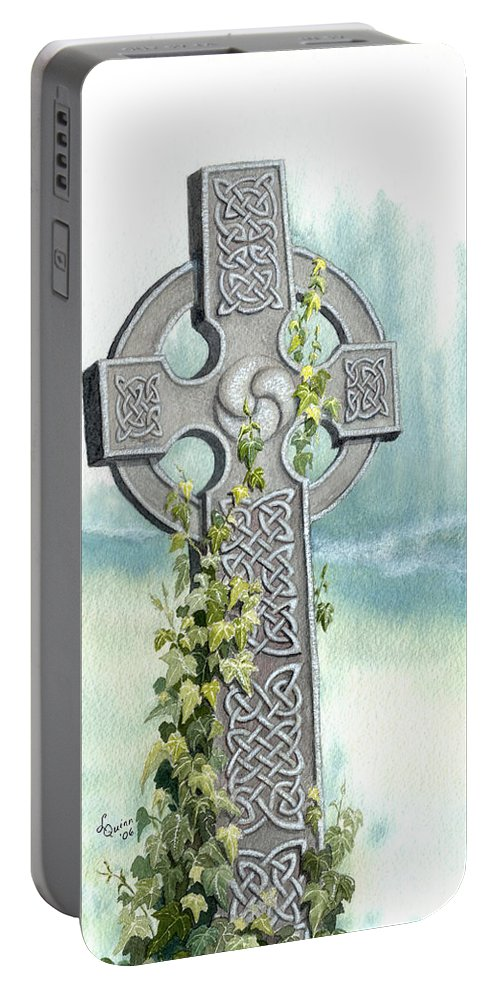 Celtic Cross Portable Battery Charger featuring the painting Celtic Cross With Ivy II by Lynn Quinn