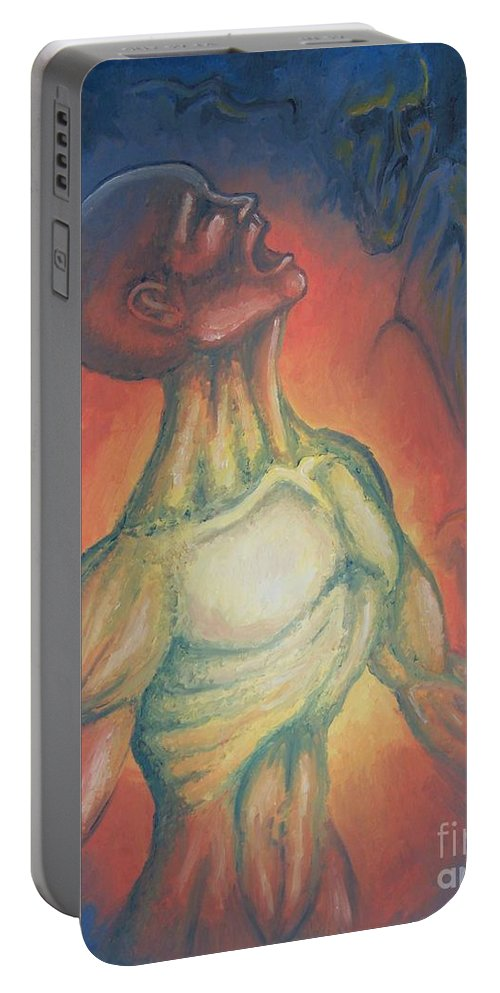 Tmad Portable Battery Charger featuring the painting Center Flow by Michael TMAD Finney
