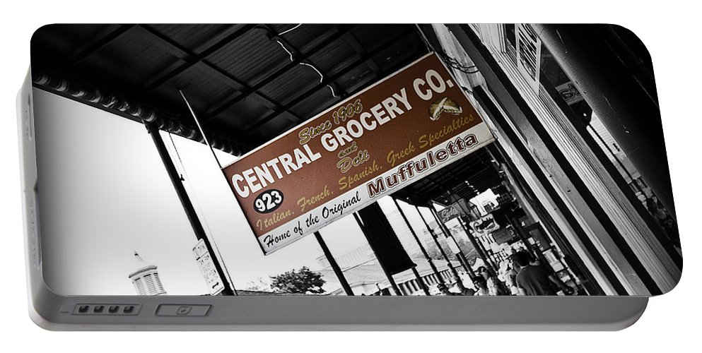 Black & White Portable Battery Charger featuring the photograph Central Grocery by Scott Pellegrin