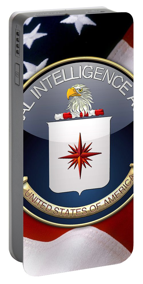 'military Insignia & Heraldry 3d' Collection By Serge Averbukh Portable Battery Charger featuring the digital art Central Intelligence Agency - C I A Emblem Over American Flag by Serge Averbukh