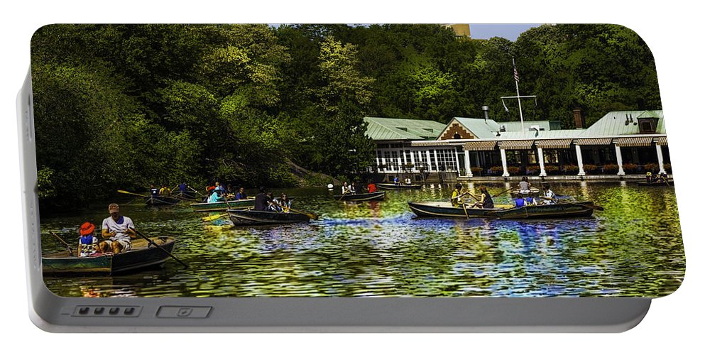 Central Park Portable Battery Charger featuring the photograph Central Park Boathouse by Madeline Ellis