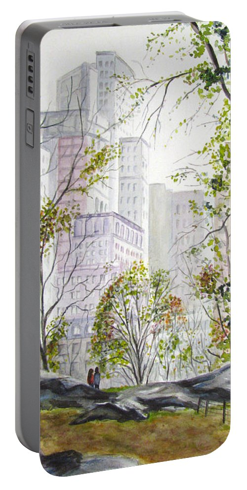 Ny Portable Battery Charger featuring the painting Central Park Stroll by Clara Sue Beym