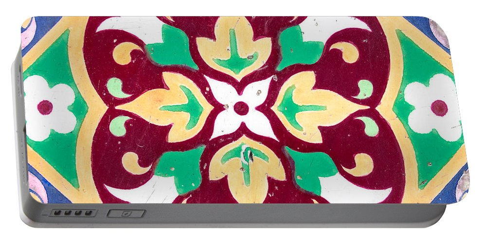 Pattern Portable Battery Charger featuring the photograph Ceramic Tile Closeup by Dutourdumonde Photography