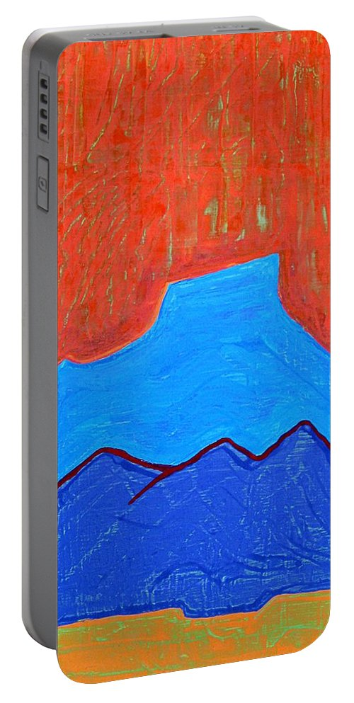 Mountain Portable Battery Charger featuring the painting Cerro Pedernal Original Painting Sold by Sol Luckman
