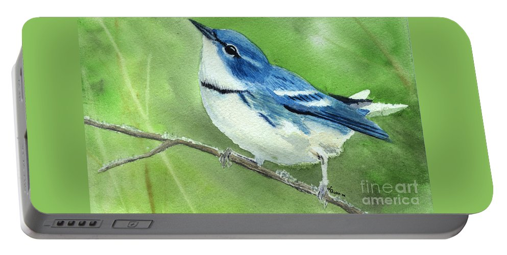 Bird Portable Battery Charger featuring the painting Cerulean Warbler by Lynn Quinn