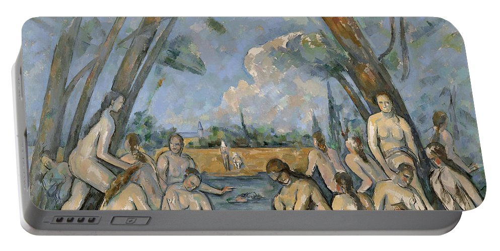 1905 Portable Battery Charger featuring the painting Cezanne Baigneuses 1905 by Granger