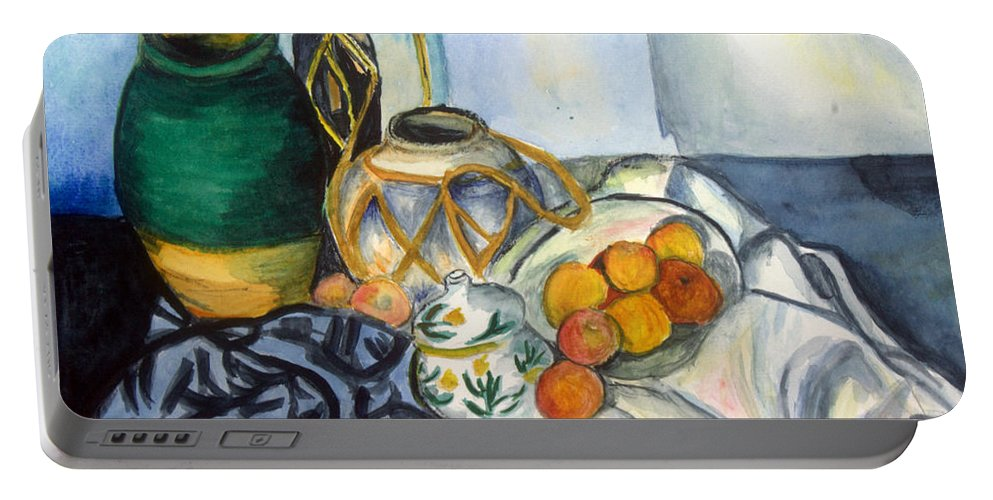 Art Portable Battery Charger featuring the painting Cezanne Still Life With Apples In Watercolor by Donna Walsh