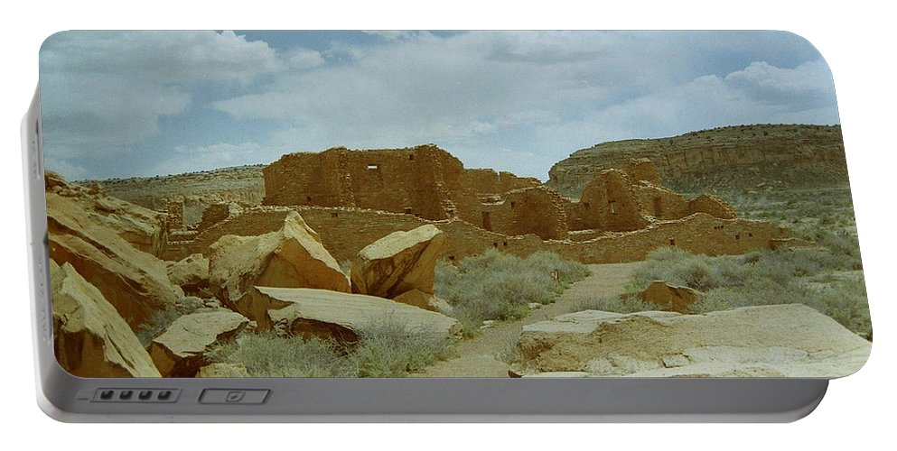Native American Portable Battery Charger featuring the photograph Chaco Canyon Ruins by Mike Wheeler
