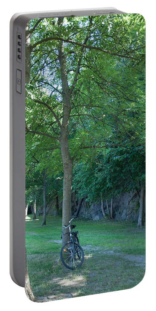 Bicycle Portable Battery Charger featuring the photograph Chained To A Tree by Jill Mitchell