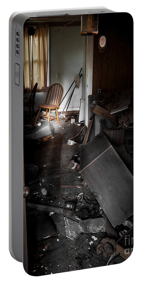 Abandoned Portable Battery Charger featuring the photograph Chair At The Table by Ken Frischkorn