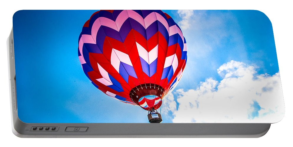 Pilot Portable Battery Charger featuring the photograph Champion Hot Air Balloon by Grace Grogan