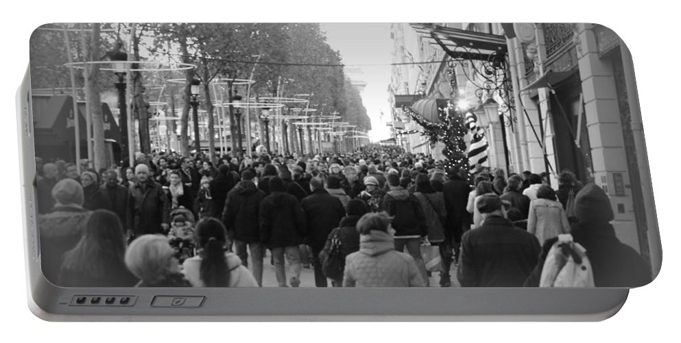 Champs Elysees Portable Battery Charger featuring the photograph Champs Elysees Black N White by Riad Belhimer