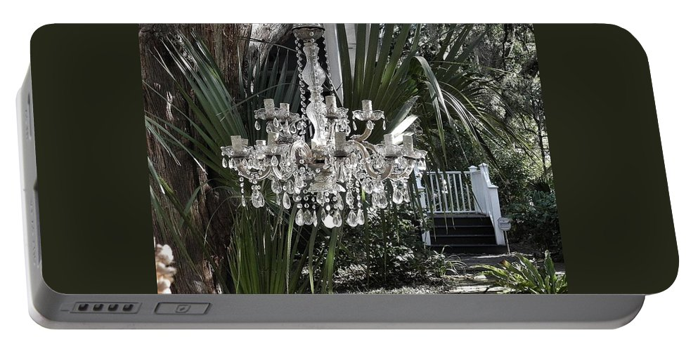 Chandelier Portable Battery Charger featuring the photograph Chandelier In The Garden by Patricia Greer