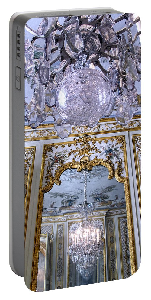 Chateau De Chantilly Portable Battery Charger featuring the photograph Chandelier Inside Chateau De Chantilly by Dave Mills