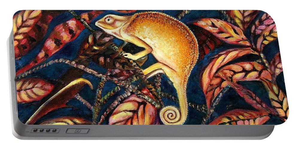 Chameleon Portable Battery Charger featuring the painting Changing Colors by Caroline Street