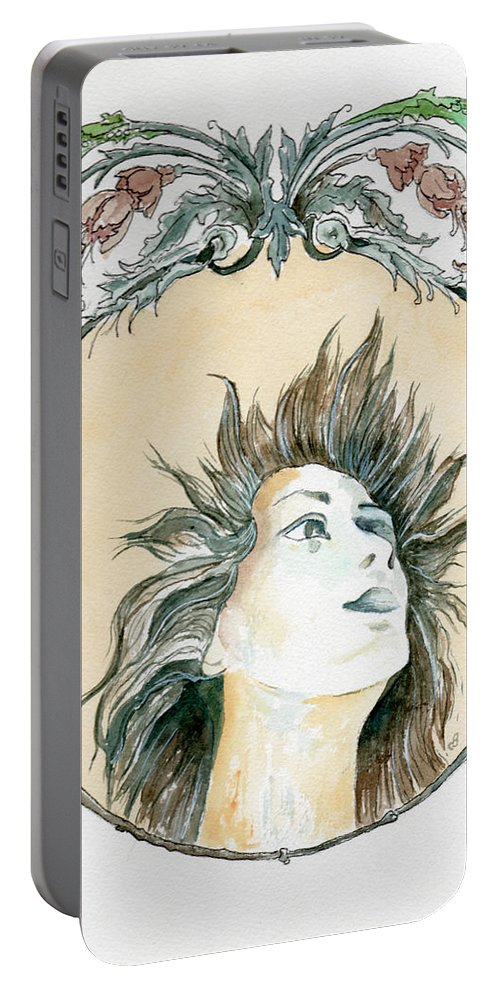 Watercolor Portable Battery Charger featuring the painting Chanson D'amour by Brenda Owen