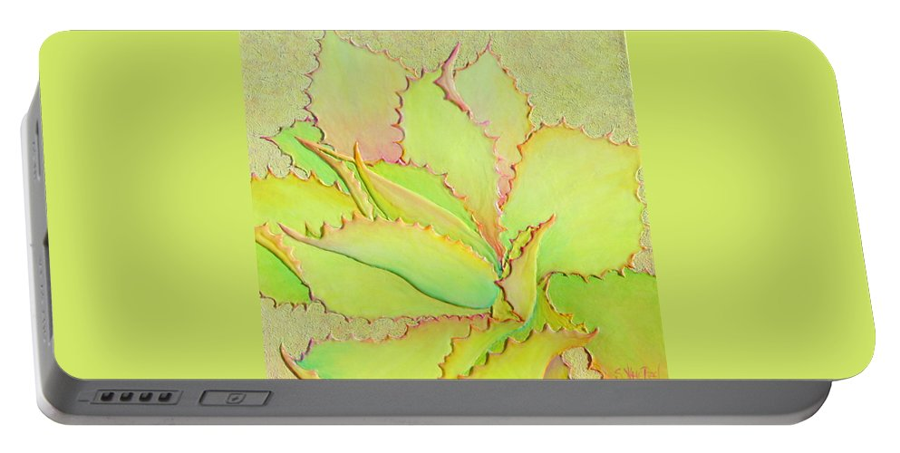 Succulent Portable Battery Charger featuring the painting Chantilly Lace by Sandi Whetzel
