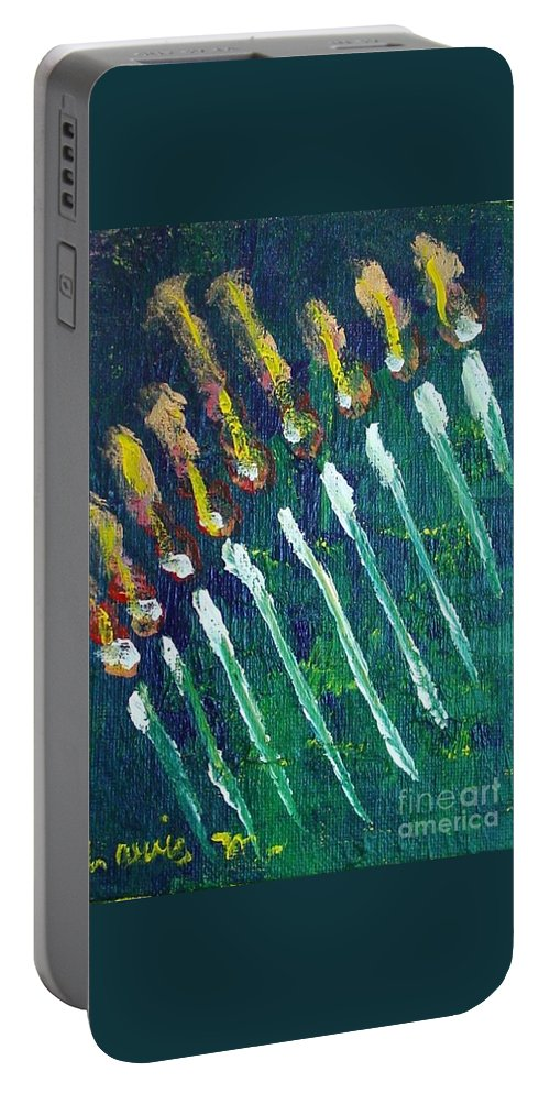Chanukah Portable Battery Charger featuring the painting Chanukiah In The Dark by Laurie Morgan