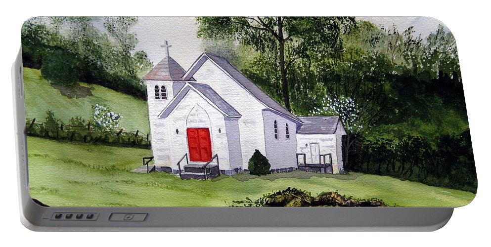 Church Portable Battery Charger featuring the painting Chapel In The Mounts by Julia RIETZ