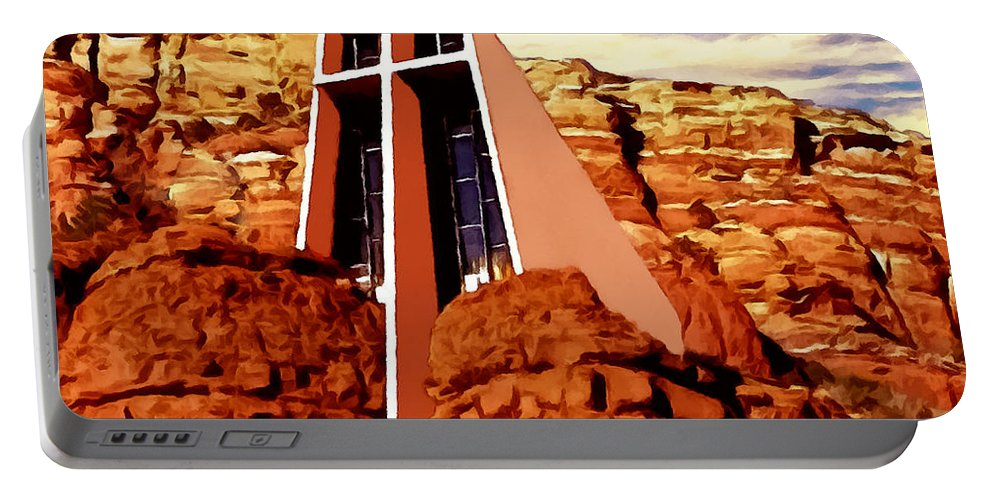 Architectural Portable Battery Charger featuring the painting Chapel Of The Holy Cross by Bob and Nadine Johnston