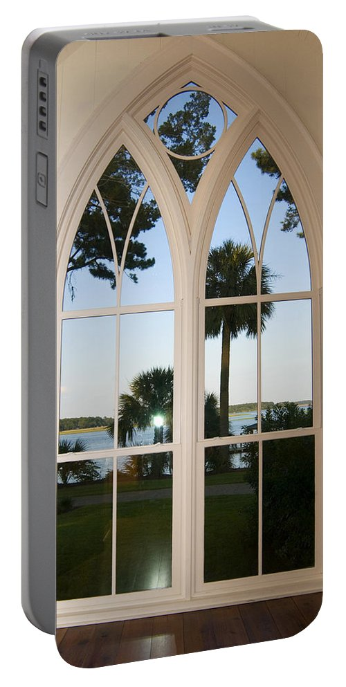 Chapel Palmetto Bluff Portable Battery Charger featuring the photograph Chapel Palmetto Bluff Sc by Bob Pardue