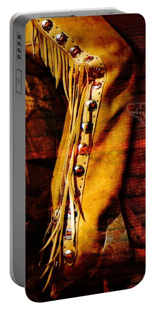 Western Portable Battery Charger featuring the photograph Chaps And Boots by Shannon Story