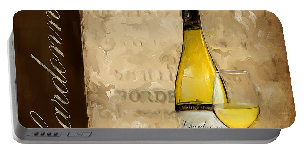 Wine Portable Battery Charger featuring the painting Chardonnay IIi by Lourry Legarde