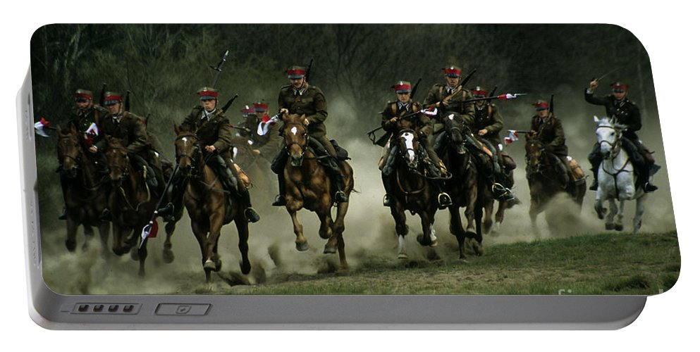 Cavalery Portable Battery Charger featuring the photograph Charge by Angel Ciesniarska