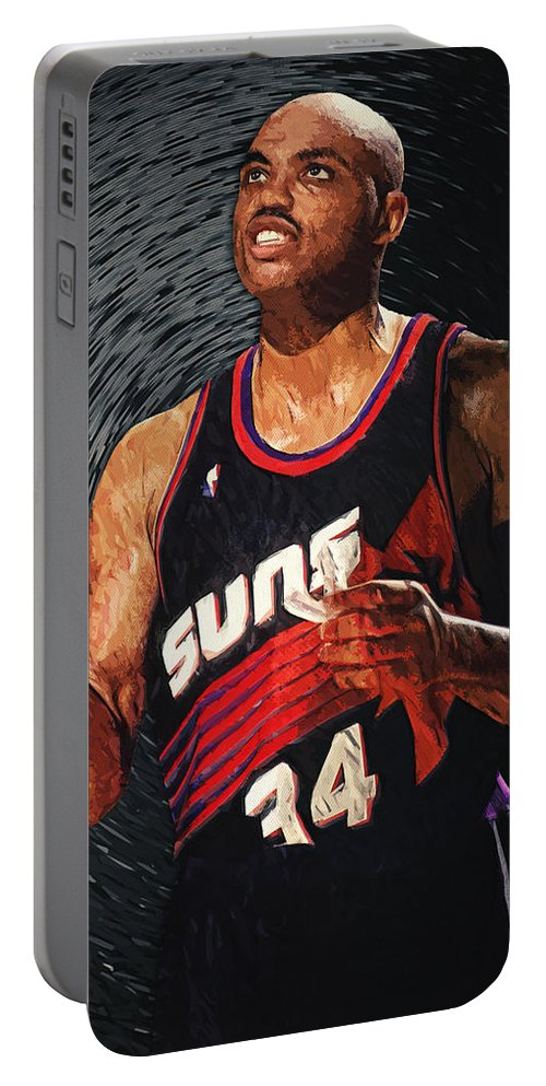 Charles Barkley Portable Battery Charger featuring the digital art Charles Barkley by Zapista OU