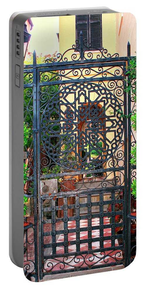 Charleston Portable Battery Charger featuring the photograph Charleston Gate Charleston Sc by William Dey