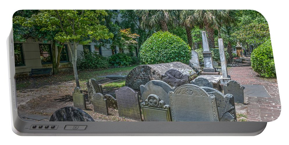 Cemetery Portable Battery Charger featuring the photograph Charleston Graveyard by Dale Powell