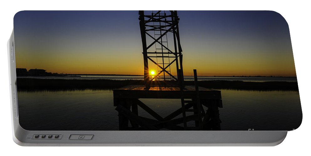 Sunset Portable Battery Charger featuring the photograph Charleston Water Sunset by Dale Powell