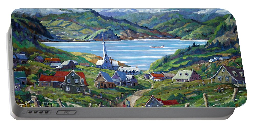 Portable Battery Charger featuring the painting Charlevoix Scene by Richard T Pranke