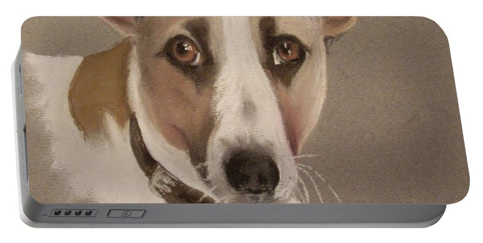Dog Portable Battery Charger featuring the pastel Charlie by Rosemarie Temple-Smith