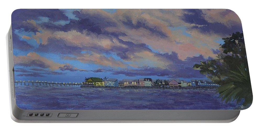 Sailing Portable Battery Charger featuring the painting Charlotte Harbor Sunset by Kathy Przepadlo