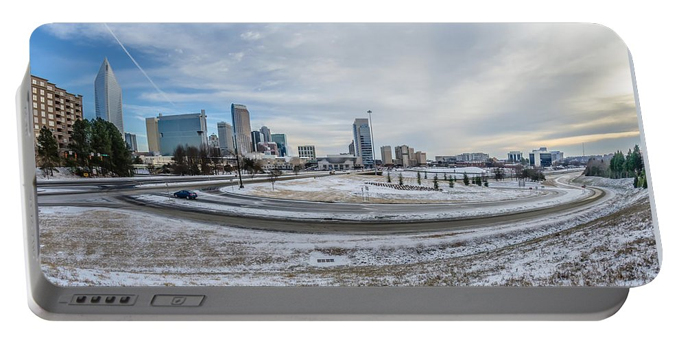Rare Portable Battery Charger featuring the photograph Charlotte North Carolina Skyline In Winter by Alex Grichenko