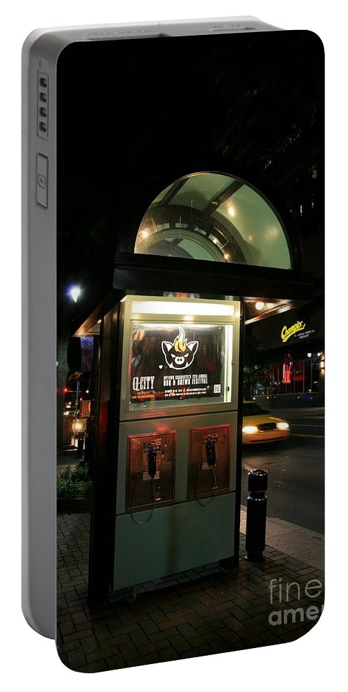 A Charlotte Payphone. Portable Battery Charger featuring the photograph Charlotte Payphone by Robert Loe