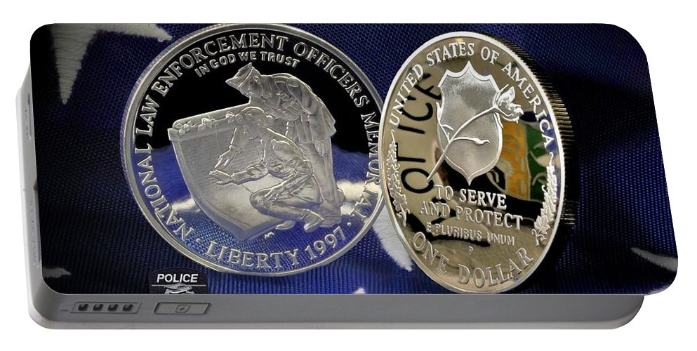 Charlotte Police Portable Battery Charger featuring the photograph Charlotte Police Memorial by Gary Yost